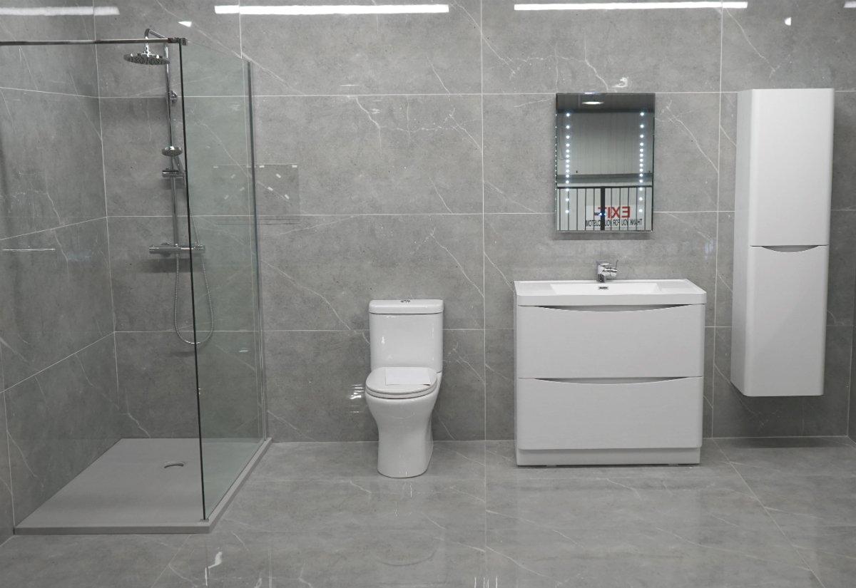 Grey Stone High Gloss Bathroom, Living and Kitchen Tiles ...