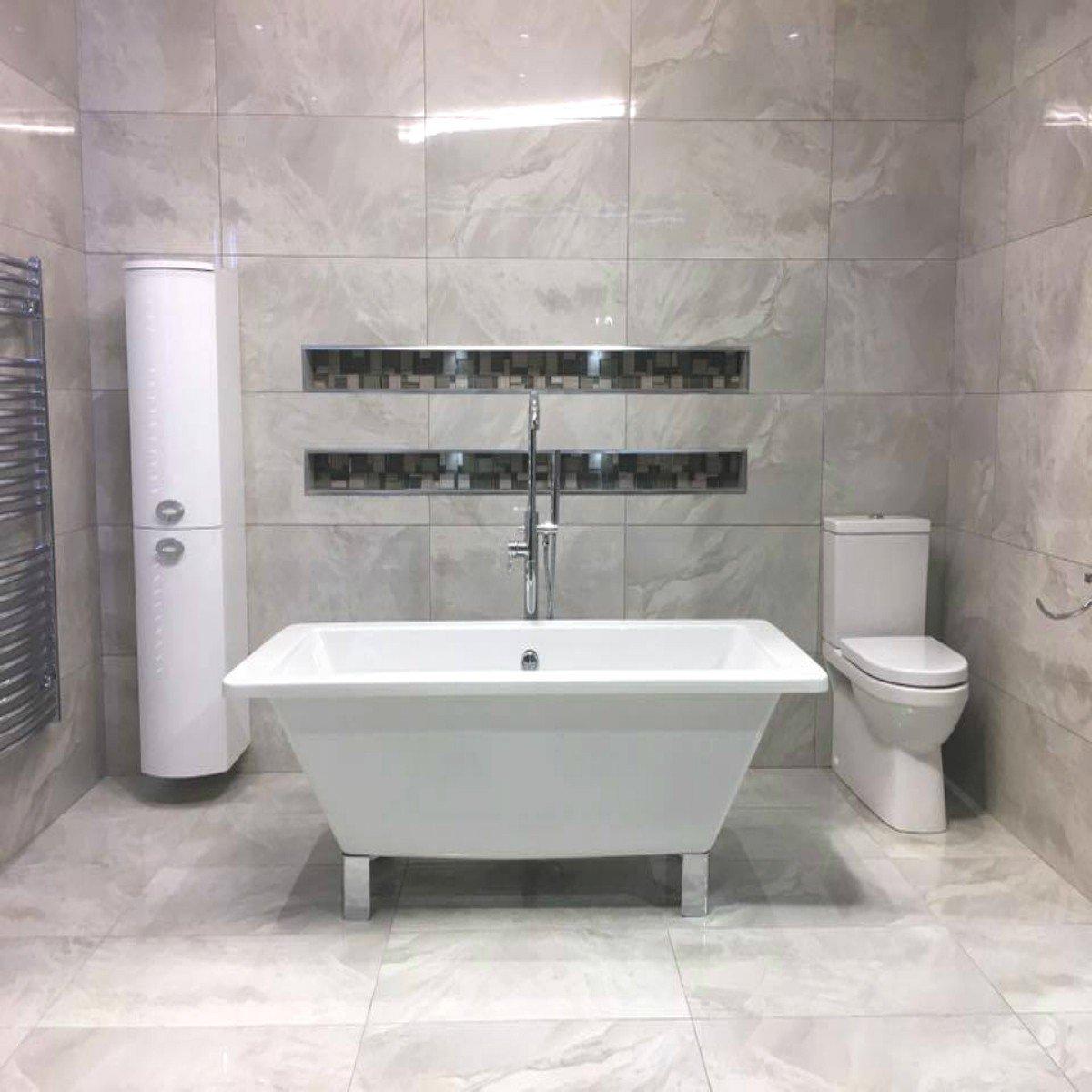 Soft Grey Light 80 X 40 Large Polished Porcelain Tile